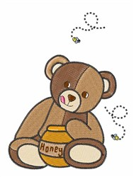 Teddy Bear And Honey embroidery design
