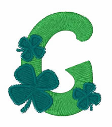 Green Shamrocks G embroidery design