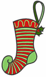 Striped Stocking embroidery design