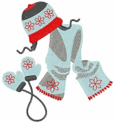 Hat Scarf & Mittens embroidery design