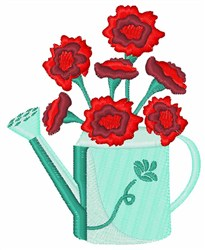 Carnation Watering Can embroidery design