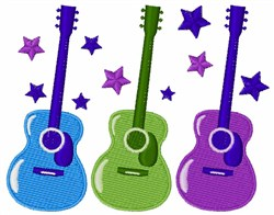 Colorful Guitars embroidery design
