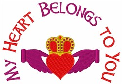 Claddagh Heart Crown embroidery design