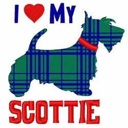I Love My Scottie embroidery design