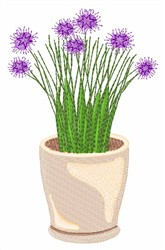 Potted Chive embroidery design