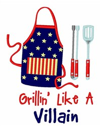 Grillin Villain embroidery design