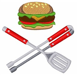 Burger Grill Tools embroidery design