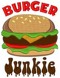 Burger Junkie embroidery design