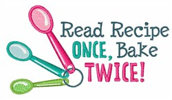 Read Once Bake Twice embroidery design