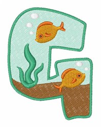 Fish Tank Font G embroidery design