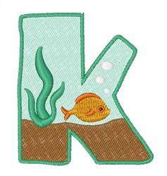 Fish Tank Font K embroidery design