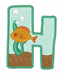 Fish Tank Font h embroidery design