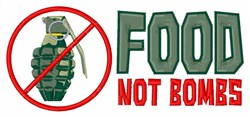 Food Not Bombs embroidery design