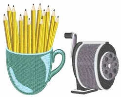 Sharpened Pencils embroidery design