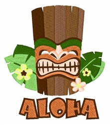 Aloha Tiki embroidery design