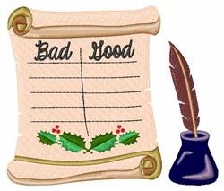 Good & Bad List embroidery design
