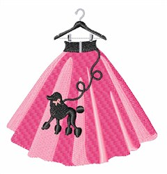 Pink Poodle Skirt embroidery design
