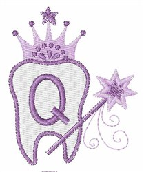 Tooth Fairy Font Q embroidery design