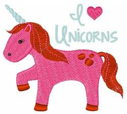 I Love Unicorns embroidery design