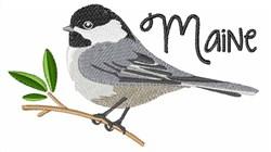 Maine Chickadee embroidery design