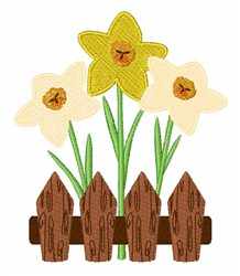 Flowers On Fence embroidery design