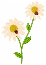 Ladybugs On Daisies embroidery design