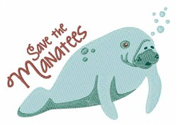 Save The Manatees embroidery design