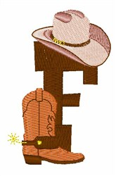 Rodeo Cowboy Font F embroidery design