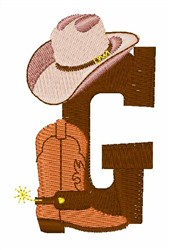 Rodeo Cowboy Font G embroidery design