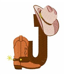 Rodeo Cowboy Font J embroidery design