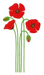 Poppy Flowers embroidery design