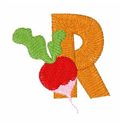 Food Font R embroidery design