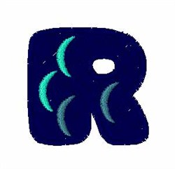 Fishy Font R embroidery design
