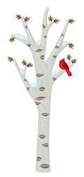Cardinal Winter Tree embroidery design