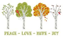Peace Love Hope Joy embroidery design