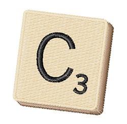 Scrabble Chip C embroidery design
