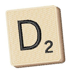 Scrabble Chip D embroidery design
