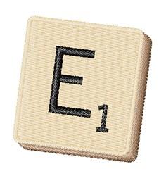 Scrabble Chip E embroidery design