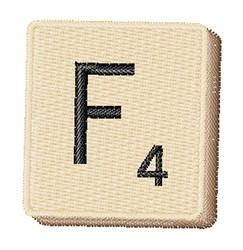 Scrabble Chip F embroidery design
