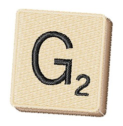 Scrabble Chip G embroidery design