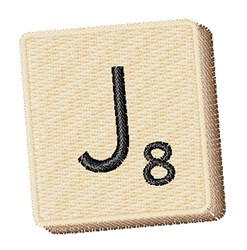 Scrabble Chip J embroidery design