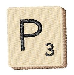 Scrabble Chip P embroidery design
