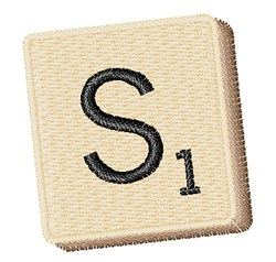 Scrabble Chip S embroidery design
