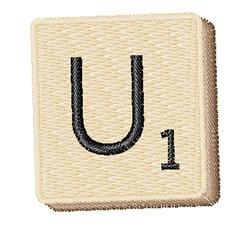 Scrabble Chip U embroidery design