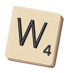 Scrabble Chip W embroidery design