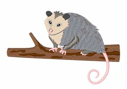 Opossum On Branch embroidery design