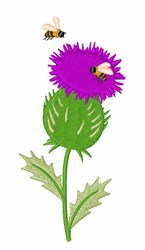 Thistle Bees embroidery design