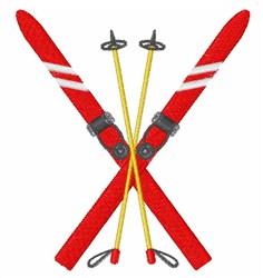 Vintage Ski Poles embroidery design