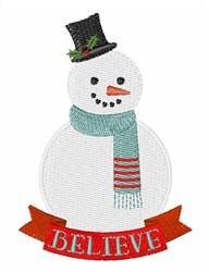 Believe Snowman embroidery design