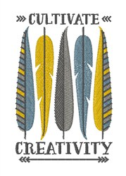 Cultivate Creativity Feathers embroidery design